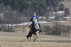 Medieval knight preparing for joust royalty free stock photos