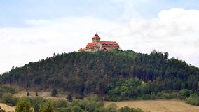 Medieval knight`s castle on a hill royalty free stock images