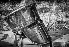 Medieval knight's helmet. At open-air museum Havranok, Slovakia Royalty Free Stock Photography
