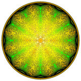 Medieval knight`s shield with a beautiful ornament. Geometric circle in kaleidoscopic style. Stock Photos