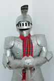 Medieval knight's suit of armor and helmet Stock Image