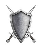 Medieval knight shield with crossed swords coat of arms Royalty Free Stock Photo