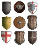 Medieval knight shields set isolated Royalty Free Stock Image