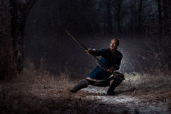 Medieval knight with spear in armor as style Game of Thrones in. Winter Forest Landscapes Stock Images