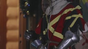 Medieval Knight Standing In Door stock video