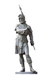 Medieval knight statue isolated on white Stock Photos