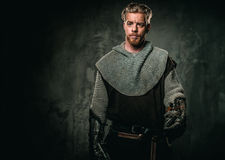 Medieval knight with sword and armour stock photos