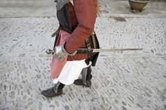 Medieval knight with sword Stock Photography