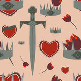 Medieval knight themed pattern. Seamless pattern with knight related elements: sword, rose, crown Stock Images
