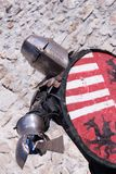Medieval knight. Knight training for battle Royalty Free Stock Image
