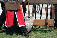 Knight weapons. Knight festival. Medieval weapons. Royalty Free Stock Image