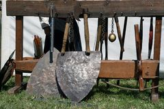 Knight weapons. Knight festival. Medieval weapons. Stock Images