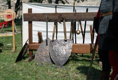 Knight weapons. Knight festival. Medieval weapons. Stock Photos