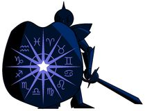 Medieval knight with Zodiac signs. Illustration representing the symbols of the 12 zodiac signs on the shield of a knight with sword. An idea that can be used in Stock Image