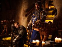 Medieval knights in ancient castle  interior. Stock Photography