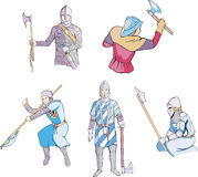 Medieval knights with axes Royalty Free Stock Photography