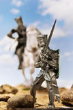Medieval knights - crusaders with a sword Stock Photos