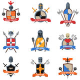 Medieval knights emblems flat icons set Royalty Free Stock Photo