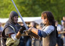 Medieval knights fencing Stock Image
