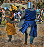 Medieval knights fighting Royalty Free Stock Photo