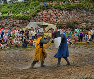 Medieval knights fighting Stock Image