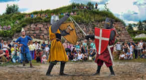 Medieval knights fighting Royalty Free Stock Image