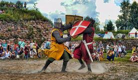 Medieval knights fighting Royalty Free Stock Images