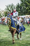 Medieval knights fighting. LIW, POLAND 17 AUGUST: Members of Medieval Reinactment Order fight in Liw Tournament on 17 August 2013 in Liw, Poland stock images