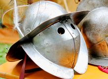 Medieval knights helmet during the period of the middle ages Stock Photography