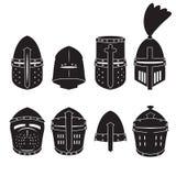 Medieval knights helmet vector set. Helmet icons. Vector. CMedieval knights helmet vector set. Helmet icons. Vector. eps10 Stock Photos