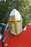 Medieval knights helmet. With visor outdoors with accessories in the background Royalty Free Stock Images
