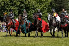 5 medieval knights on horsebacks Stock Images