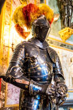 Medieval knights on horses in the Royal Armoury of Turin royalty free stock photos