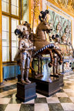 Medieval knights on horses in the Royal Armoury of Turin Stock Photo