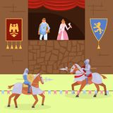 Medieval knights joust vector flat illustration royalty free illustration