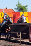 Medieval Knights. Jousting. Medieval Knight on horseback at a jousting competition. Castle Gniew. Poland Stock Photo