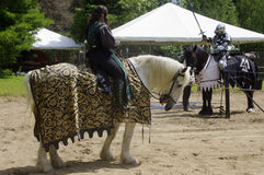 Medieval knights Jousting. Medieval knight in armor on horse Stock Image