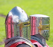 Medieval Knights sitting in front of a tent Royalty Free Stock Photo