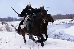 Medieval knights of St. John (Hospitallers) Stock Photography