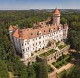 Medieval Konopiste castle or château in Czech Republic. Residence of Habsburg imperial family surrounded by the forest stock photography