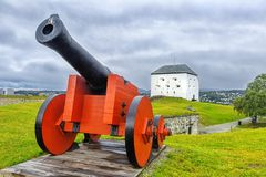 Medieval Kristiansten Fortress in Trondheim. Norway. Medieval Kristiansten Fortress, located on a hill east of the city of Trondheim. Trondheim, historically Royalty Free Stock Photography