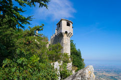 Medieval  La Cesta tower of Mount Titan in San Marino. Italy. Royalty Free Stock Images