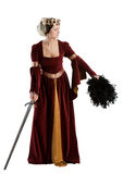 Medieval lady. A lady with sword in traditional medieval dress Stock Image