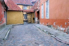 Medieval Lane in the Old Town of Tallinn Royalty Free Stock Images