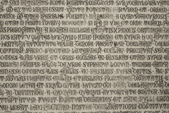 Medieval latin catholic inscription Stock Image