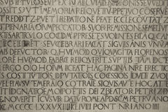 Medieval latin catholic inscription Royalty Free Stock Images