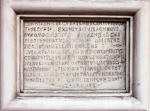 Medieval latin catholic inscription Stock Photos