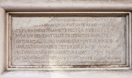 Medieval latin catholic inscription Stock Images