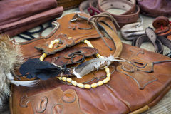 Medieval leather goods Royalty Free Stock Photography