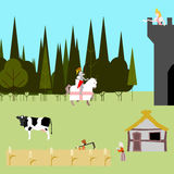 Medieval life flat style peasants knight princess  Royalty Free Stock Photography